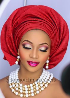Topnotch Makeovers_Nigerian Bride Makeup and Gele for - Braut Wedding Makeup Tips, Natural Wedding Makeup, Bride Makeup, Girls Makeup, Hair Makeup, Beauty Make-up, Bridal Beauty, Bridal Tips, African Makeup