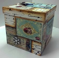 Decoupage Box, Decoupage Vintage, Painted Boxes, Wooden Boxes, Painting For Kids, Painting On Wood, Pallet Boxes, Paper Crafts, Diy Crafts