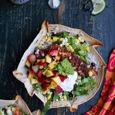 Chipotle Mahi Mahi Burrito Bowls with Coconut Cilantro Lime Rice + Spicy Strawberry-Mango Salsa. Recipe Main Dishes with mahi mahi, olive oil, chipotle chile, garlic, smoked paprika, chili powder, cumin, salt, onion powder, salt, jasmine rice, coconut milk, coconut water, chopped fresh cilantro, lime, salt, unsweetened shredded dried coconut, coconut oil, mango, strawberries, fresh cilantro, jalapeno chilies, lime, cayenne pepper, salt, tortilla bowls, shredded lettuce, black beans…