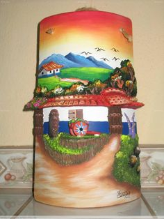 Teja con  carreta, muro,y casita... Clay Wall Art, Clay Art, Decoupage, Tile Crafts, Horse Drawings, Paper Clay, Flower Pots, Diy And Crafts, Projects To Try