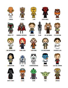 SALE Cute Star Wars Alphabet A-Z Poster A3 11 x 17 or by loopzart