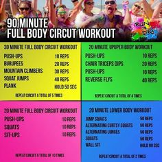 90 minute full-body circuit #workout? Looks intense, but we'll give it a try.