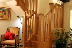 cottage bungalow style staircase | Staircase Design View From Music Room Before