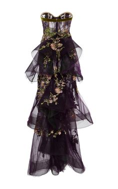 Prom Dresses 2018 Tiered Embroidered Tulle Gown by Marchesa Purple Evening Gowns, Beaded Evening Gowns, Evening Dresses, Beaded Gown, Long Dresses, Prom Dresses, Pageant Gowns, Tulle Ball Gown, Ball Gowns
