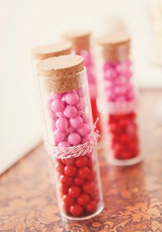 Pink & red candy tubes tied with twine