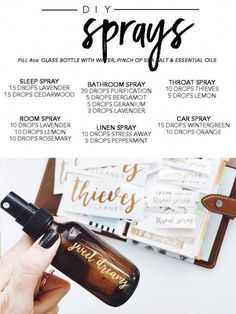 Young living essential oil's Premium Starter Kit DIY sprays Essential Oils Room Spray, Essential Oils Cleaning, Essential Oil Diffuser Blends, Essential Oil Uses, Doterra Essential Oils, Young Living Essential Oils, Young Living Thieves, Young Living Oils, Young Living Hair
