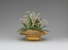 "House of Carl Fabergé. Lilies of the Valley Basket, 1896. Russian. The Metropolitan Museum of Art, New York. Matilda Geddings Gray Foundation (L.2011.66.56a, b) | This work is on view in ""Fabergé from the Matilda Geddings Gray Foundation Collection"" through November 27, 2016."