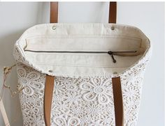 Chic Wedding Handmade Shabby Chic Cotton Wedding Bag Lace by ShabbyChicLinenC Vintage Stil, Style Vintage, Vintage Fashion, Shabby Chic, Lace Bag, Leather Rivets, Custom Bags, Cotton Lace, My Bags