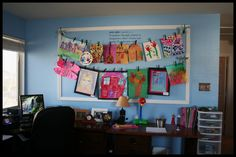 Love this idea to display student work  Put on back wall of classroom - hang wire