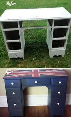 Wish me luck!! I'm going to make this for Aubrie :) DIY Union Jack Desk~Thissouthernhome.com