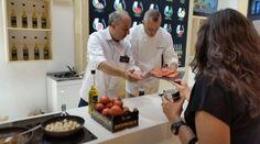Showcooking de tomates REYROSA de Hermanos Montes con el famoso chef Juan Pozuelo. Un espectáculo.
