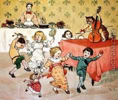 randolph caldecott -The Cat and the Fiddle and the Children's Party illustration from Hey Diddle Diddle
