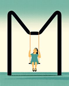 © Joey Guidone - Abandon Me. Illustration, Conceptual, Girl, Swing, Loneliness, Neglect, M letter