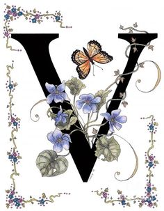 Violets And A Viceroy Butterfly Print By Constance Widen - V is for Victoria :) Alphabet Art, Monogram Alphabet, Alphabet And Numbers, Letter Art, Alphabet Design, Illuminated Letters, Illuminated Manuscript, Graphic 45, Stoff Design