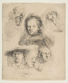 Studies of the Heads of Saskia and Others Rembrandt (Rembrandt van Rijn) (Dutch, Leiden Amsterdam) Date: 1636 Medium: Etching Dimensions: sheet: 6 x 5 in. x cm) Classification: Prints Credit Line: Bequest of Julie Parsons Redmond, 1960 Accession Number: Rembrandt Etchings, Rembrandt Drawings, Rembrandt Paintings, Dutch Golden Age, Dutch Painters, Dutch Artists, Leiden, Old Master, Vintage Wall Art