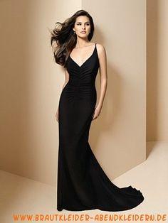 Sexy schwarzes Abendkleid aus Chiffon mit Schleppe