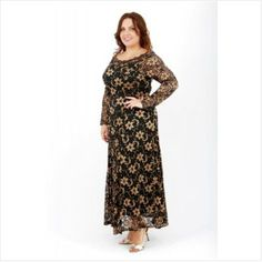A wardrobe essential for the party season, this Bardot Off-the-Shoulder Lace Curve Maxi Dress exudes black-tie elegance. Available in a choice of head-turning hues to add style and radiance to your plus size clothing collection, it is made from quality stretch fabrics, and finished with a delicate lace overlay that lends real designer appeal to the full-length design... Curve Dresses, Long Maxi Skirts, Gold Dress, Lace Sleeves, Fitted Bodice, Lace Overlay, Bardot, Lace Fabric, Black Tie