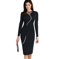 Nice-forever Sexy Illusion Slim Fashion Mesh Women Clubwear Full Zip Back Black Patchwork dress Elegant Slim Pencil Dress Tag a friend who would love this! Visit our store Cheap Dresses, Elegant Dresses, Summer Dresses For Women, Dresses For Work, Mesh Long Sleeve, Patchwork Dress, Pencil Dress, Skater Dress, Clubwear