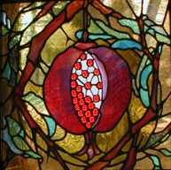 Pomegranate stained glass memorial window. Artist: Virginia Fordice