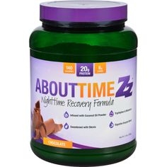 About Time Zz Nighttime Recovery - Chocolate - 2 lb - Relax, recover and sleep better with our casein nighttime recovery formula. Made with micellar casein, coconut oil powder, tryptophan, and melatonin for night time muscle and energy recovery. Available in Chocolate and Peanut butter. Organic: NA Gluten Free: No Dairy Free: No Yeast Free: No Wheat Free: No Vegan: No Kosher: No GMO Free: NA Summer Melt Risk? No Country Origin: USA Dimensions: 6 in. L x 6 in. W x 8 in. H Pack: 1 Size: 2 LB…