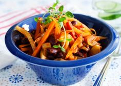 Ph-metoden Japchae, Thai Red Curry, Carrots, Foodies, Healthy Recipes, Healthy Food, Vegetarian, Lunch, Beef