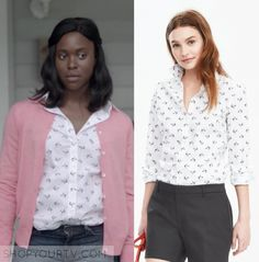 "Karry Beck (Clare-Hope Ashitey) wears this white button down collared rose/flower printed blouse in this episode of Shots Fired, ""Hour Rock Bottom"". It is the Banana Republic Riley-Fit Floral Print Shirt. Floral Print Shirt, Printed Blouse, Floral Prints, Shots Fired, Rock Bottom, White Button Down, Season 1, Banana Republic, Collars"