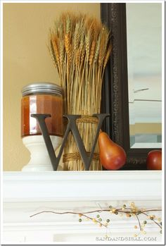 Fall Mantel - Sand and Sisal Harvest Decorations, Thanksgiving Decorations, Seasonal Decor, Thanksgiving Ideas, Harvest Time, Fall Harvest, Fireplace Mantles, Fireplaces, Fall Fireplace Decor