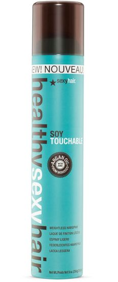 Healthy Sexy Hair Soy Touchable Weightless Hairspray. Buy at: https://www.sexyhair.com/p/healthy-sexy-hair/soy-touchable