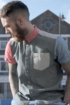 Bearded Gentleman in a Colour Blocked Button Down