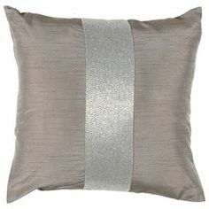 """Lilac-hued pillow with a beaded stripe detail.    Product: Pillow    Construction Material: Polyester coverColor: Taupe and silver    Features: Insert includedDimensions: 18"""" x 18""""  J&M"""