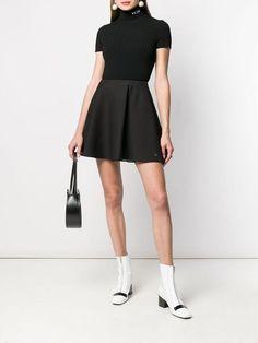 Valentino Garavani, Crepe Skirts, Polo Neck, Schneider, Italian Fashion, Skinny Fit, Black Tops, Skater Skirt, Women Wear
