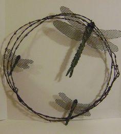 Metal Garden Art Dragonfly Barbwire Wreath