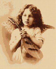 Cross stitch pattern Victorian Angel PDF - New EASY chart with one color per sheet And regular chart! Two charts in one! by HeritageCharts on Etsy