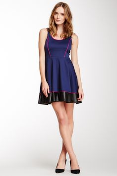 Ponte Faux Leather Flare Dress on HauteLook
