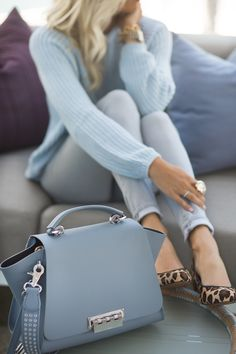 Blue Knit Sweater + Leopard Shoes
