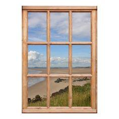 Beach view through window