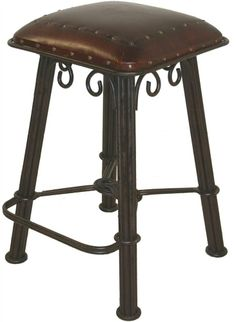 Western Counter Stool in Serpentine Wrought Iron w Hand-Tooled Riveted Leather Seat