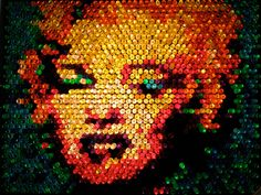 An image I made of Warhol's Marilyn Monroe portrait out of Lite-Brite pegs. Marilyn Monroe Portrait, Lite Brite, My Childhood Memories, Cool Toys, Diy Crafts, Christmas Ornaments, Wall Art, Holiday Decor, Creative
