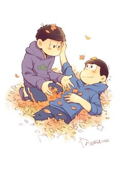 look at them, playing in the autumn leaves (kara and ichi)