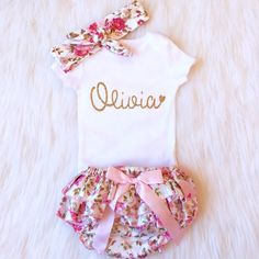 Baby Girl Clothes Personalized Gold by KennedyClairesCloset