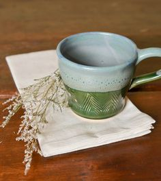 One of a Kind mug by Anna White, Shade Tree Ceramics.  #Handcrafted, #AmericanMade #ThreeHeartsHome