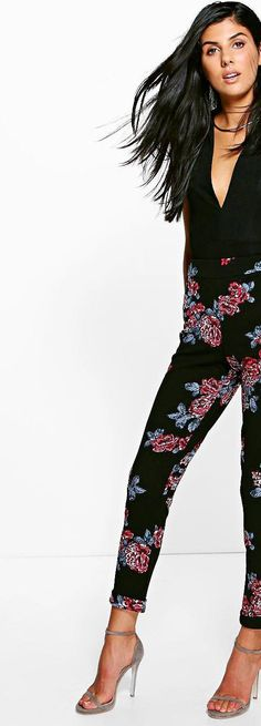 Priya Winter Floral Skinny Stretch Trousers - Trousers  - Street Style, Fashion Looks And Outfit Ideas For Spring And Summer 2017