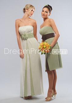 Charming Flower Knee/Floor-Length Strapless Bridesmaid Dress