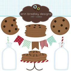 milk and cookies clipart pack