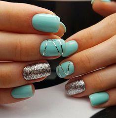 Fantastic Nail Designs #nailart #naildesign #nailideas Metallic Nails, Cute Acrylic Nails, Cute Nails, My Nails, Gold Glitter, Pretty Gel Nails, Pretty Nail Art, Glitter Nails, Chrome Nail Powder