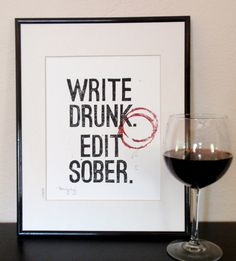 I LOVE THIS!  Can't say I haven't written any of my thesis after a few glasses of wine... HandCarved Linocut Print Black and Burgundy by PoeticMadness, $20.00