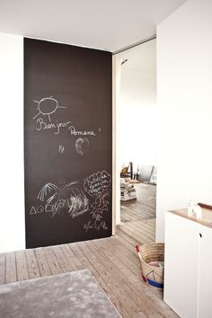 By the way, I want to recommend a blackboard wall in your kid's room – it is great! We painted the door of the twin's room with blackboard paint and we al Home Interior, Interior And Exterior, Interior Design, Blackboard Wall, Chalk Wall, Chalk Paint, Deco Design, Scandinavian Home, Kid Spaces