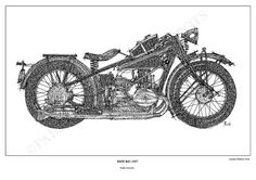 Print Art BMW R47 1927 Original Handmade Drawing by drawspots, $42.00