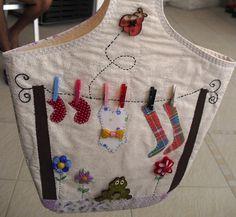 Porta Pregador de Roupa Clothespin Bag, Sewing Clothes, Pin Cushions, Hand Sewing, Patches, Reusable Tote Bags, Bows, Quilts, Mandala