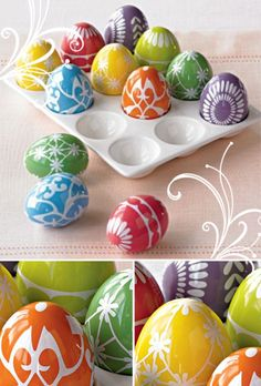Could maybe do this same look with a wax crayon on real eggs? Super cute ideas!